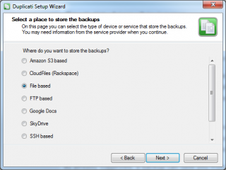 Select Type of Backup